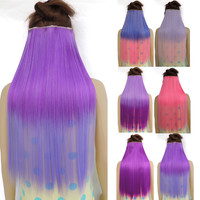 Deep purple 1 Piece 5 Clips 24 Inch Charm Long Straight Multi Color Graduate Color Clip In Hair Extension Cosplay