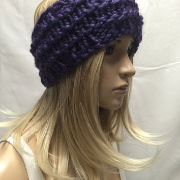 Knit Headband Ribbed Purple Iridescent Blue Warm And Cozy