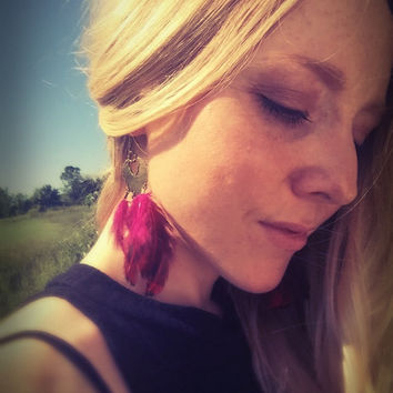 Real feather earrings,boho pink earrings,Native American jewelry,ethnic earrings,tribal earrings,indian earrings,festival jewelry