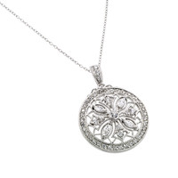 .925 Sterling Silver Disc Designed Filigree Necklace