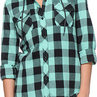 Empyre Girls Bristol Mint Buffalo Plaid Hooded Flannel Shirt