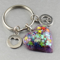 Heart Key Chain/Resin Heart w. Glitter & stars/Peace and Heart Charm Colorful Resin Heart Key Chain/Gifts Ideas Under Ten Dollars/Key Ring