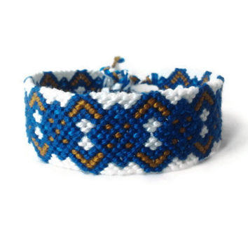 "friendship bracelet wrist cuff bracelet unisex adult friendship cuff ""zig zag meets rhombi "" 15,5 cm (6,1 inches)"
