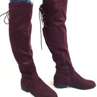 Wine Suede Tall Boot