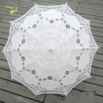 Fashion Sun Umbrella Cotton Embroidery Bride Umbrella White Ivory Battenburg Lace Parasol Umbrella Wedding Umbrella Decorations