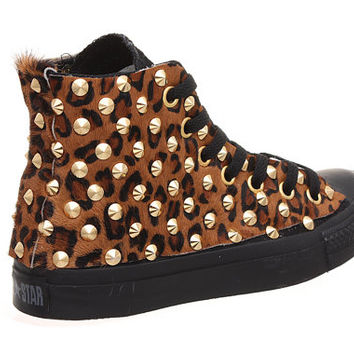 Studded Converse, Leopard Converse with Gold cone rivet studs by CUSTOMDUO on ETSY