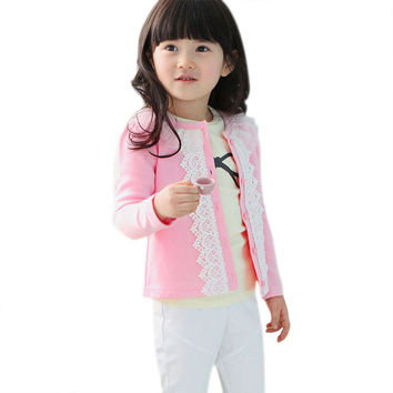 Spring Baby Girl Coat Kids Lace Thin Jacket Outfits Pink Blue Sweater Cardigan Outwear All-Matched Cute Girl Clothes