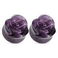 0g Amethyst Stone Rose Carved Double Flared Plugs