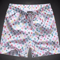 White Louis Vuitton Fashion Beach Shorts Pants Casual Summer Wear Holiday Vacation Ocean 002