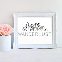 Wanderlust Travel Mountain Adventure Minimalist Printable Sign, Printable Digital Wall Art Template, Instant Download, 8x10