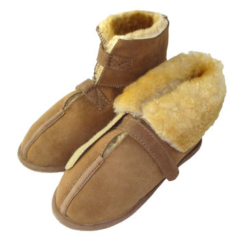 Women's Sheepskin Cabin Slippers with Velcro