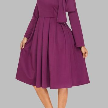 Purple Pleated Bow Long Sleeve Flare Out Formal Elegant Cocktail Party Midi Dress