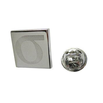 Silver Toned Etched Greek Lowercase Letter Sigma Lapel Pin
