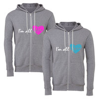 i'm all hers im all his matching couple zipper hoodie