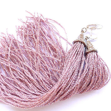Tassel Earrings, Long Tassel Earrings, Fringe Earrings, pink tassel earrings, pink tassel, dusty pink, earrings, Long earrings, long tassel