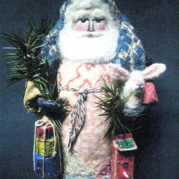 "OOAK Primitive Folk Art Santa ""Over Hill, Over Dale""-Original Design from Antique Coverlet & Quilt w/Handmade Rabbit, Birdhouse and Boxes"