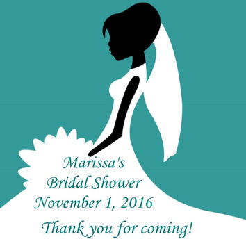 Teal Bridal Shower Personalized Favor Tags