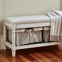 Beautiful Rustic Cream Bench With Two wire Baskets for storage