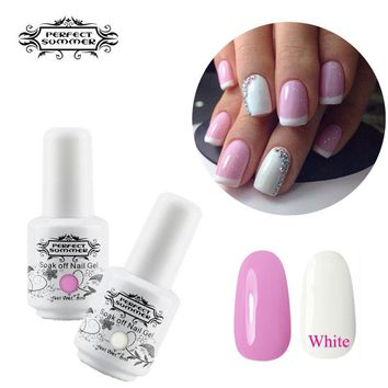 Perfect Summer Nail Gel French Manicure Pink White Color UV Gel Polish DIY Nail Art Long Lasting UV LED Lamp Gel Polish