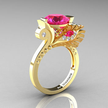 High Fashion Nature Inspired 14K Yellow Gold 3.0 Ct Pink Sapphire Diamond Marquise Eye Engagement Ring R359S-14KYGDPS