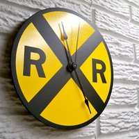 "Railroad Crossing Round Clock / Sign 9"" Diameter Rail Road Xing X-ing Novelty"