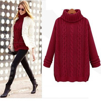 2016 New Fashion Women Sweater Winter Knitted Long Warm Sweater With Neck Women Sweater Casual Turtleneck For Women Pullover