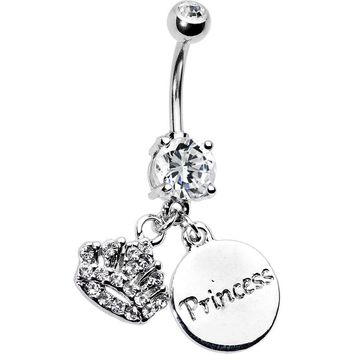 Cubic Zirconia Crown Princess Belly Ring