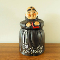 Thou Shalt Not Get Fat Cookie Jar, Rare Friar Tuck Cookie Jar, Fat Friar Cookie Jar, Fat Monk Cookie Jar, Mid Century Cookie Jar
