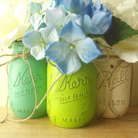 Three, Hand Painted Mason Jars | Rustic - Style Home Decor | Painted Mason Jars -- Lime Green, Green and White