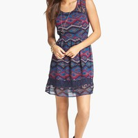Band of Gypsies Lace Inset Print Fit & Flare Dress (Juniors) | Nordstrom