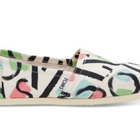 TOMS White Canvas Abstract Women's Classics White