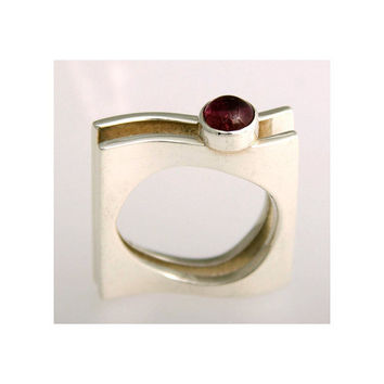 Garnet Ring silver gold ring size 4 5 6 7 8 9 10 by aboutjewelry