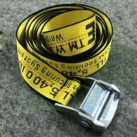 OFF WHITE New Fashion More Letter Print Couple Personality Belt Yellow