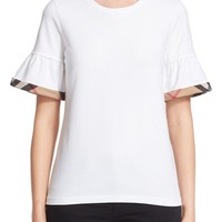 Burberry Check Trim Bell Sleeve Tee   Nordstrom
