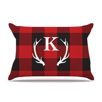 "KESS Original ""Red Plaid Monogram"" Pillow Case"