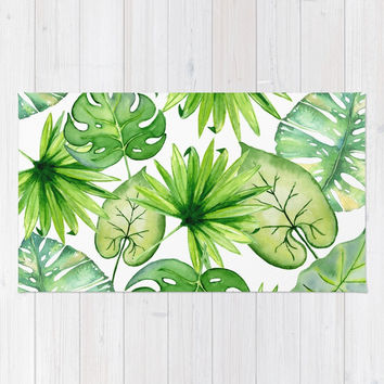tropical leaves Rug by sylviacookphotography