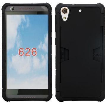 HTC Desire 626 Case, Slim Hybrid [Card Slot Insert] Dual Layer [Shock Resistant] Case Cover for Desire 626 - Black
