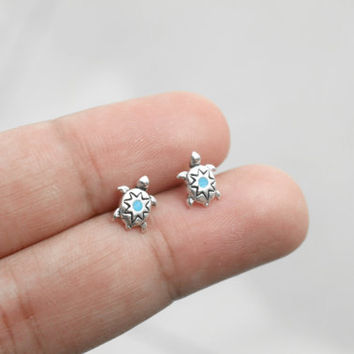 Sterling Silver Turtle Stud Earrings with Turquoise - Tiny Turquoise Stud Earrings - Animal Jewelry - Turtle Earrings - Cartilage studs