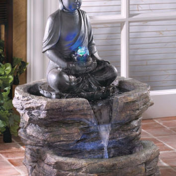 Serenity Zen Buddha Statue Garden Yard Outdoor Electric Water Fountain Decor
