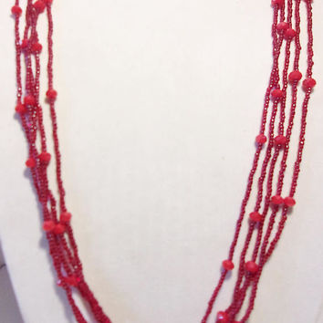 Red Multi Strand Necklace Long Beaded Jewelry Boho Valentines Day Fashion Accessories For Her