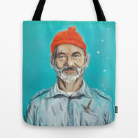 Bill Murray / Steve Zissou Tote Bag by Balazs Pakozdi
