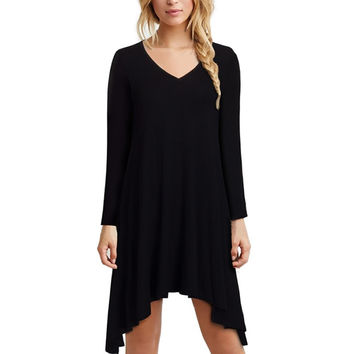 Sexy Women Black Gothic Asymmetrical dress Summer Long sleeves punk Retro