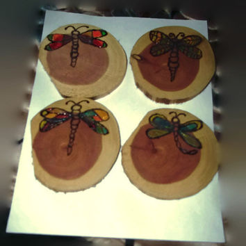 Set of 4 Wood Slice Coasters with Wood Burned Dragon Fly and Glow in The Dark Wings Rustic Home Decor Camp Nature Lover Handmade Gift Idea