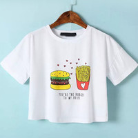 White Short Sleeve Hamburger Print Cropped Graphic T-Shirt