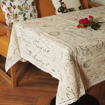Europe Style Linen Cotton Table Cloth Rectangular Lace Edge Tablecloth Letter Printed Dustproof Table Covers toalha de mesa