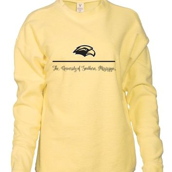 Official NCAA University of Southern Mississippi Golden Eagles Southern Miss Women's Boyfriend-Fit Vintage Looped and Pilled Herrington Crew Neck Fleece Full Sleeve Premium Sweatshirt