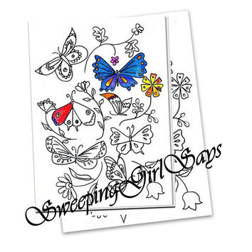 Printable butterfly coloring page sheet digital stamp instant download sticker craft coloring page digi stamp butterfly print colouring book