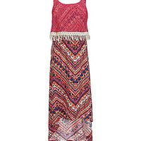 2 Hip by Wrapper 7-16 Crocheted-Popover-Bodice Maxi Dress - Fuchsia/Mu