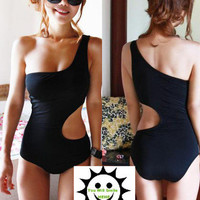 NEW Sexy Ladies Black Padded One Piece Monokini Swimwear Swimsuit X1 US 6 8 10