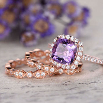 3pcs 8mm Cushion amethyst bridal ring set,diamond engement ring,Solid 14k rose gold, full eternity Art Deco Milgrain matching band,promise ring wedding